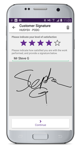 Mobile workforce productivity: Electronic signature app