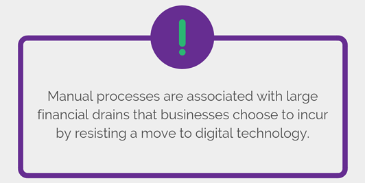 Manual processes are associated with large financial drains